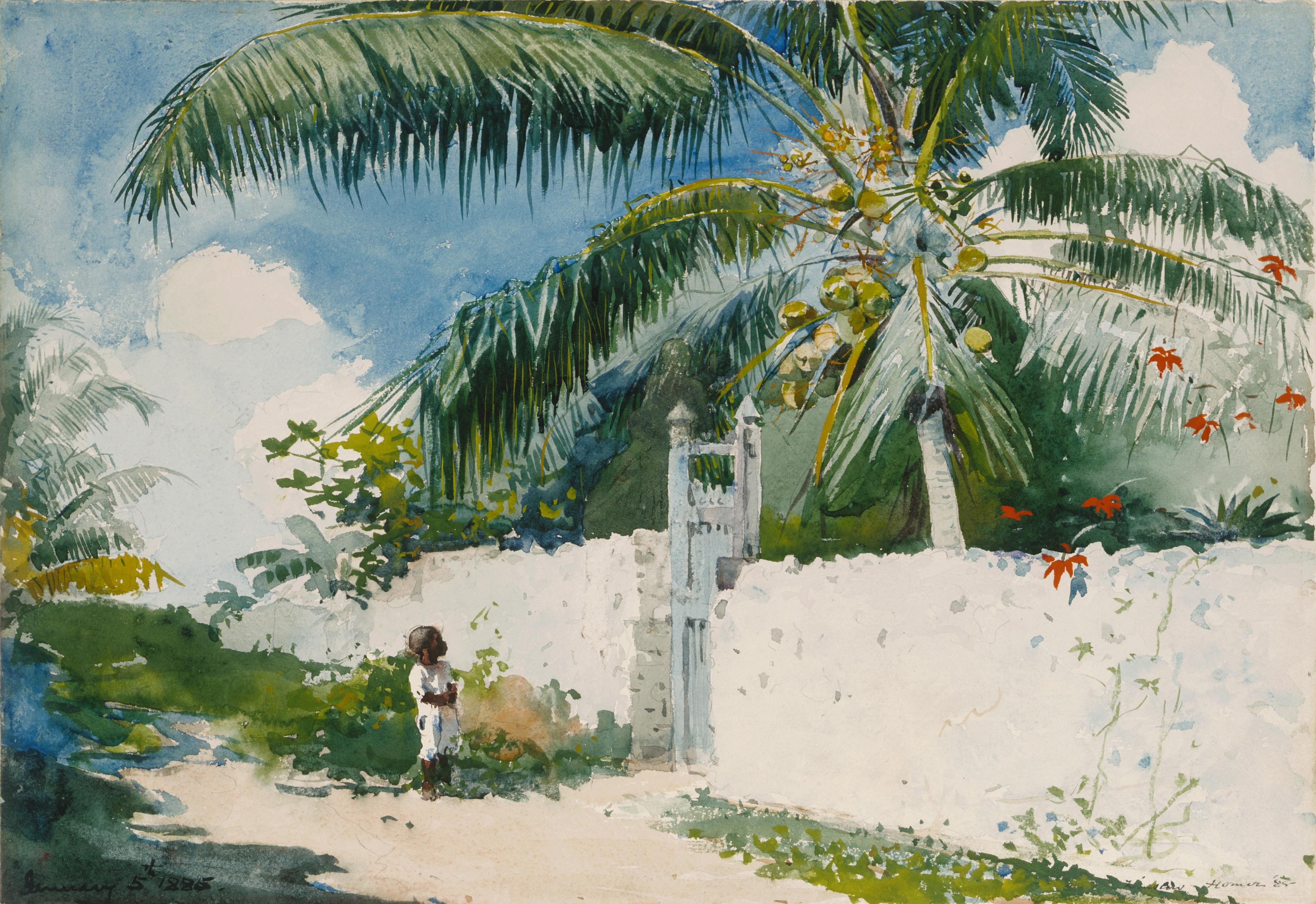 Watercolor artist magazine subscription - Winslow Homer A Garden In Nassau 1885 Watercolor On Textured Paper Art Institute Of Chicago On Display At The Philadelphia Museum Of Art